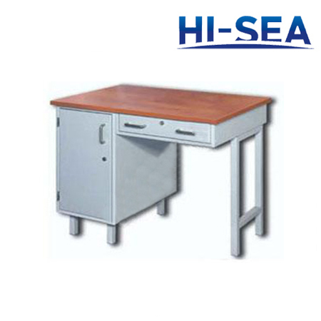 Aluminum Marine Writing Desk with One Pedestal and Drawer