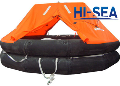 Both Side Of A Canopied Reversible Inflatable Liferaft
