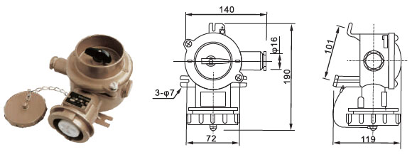 Marine 16A Brass Plug and Socket,Socket with Switch