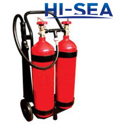 Wheeled carbon dioxide fire extinguishers
