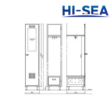 Aluminum Marine Single Wardrobe with Drawer and Mirror