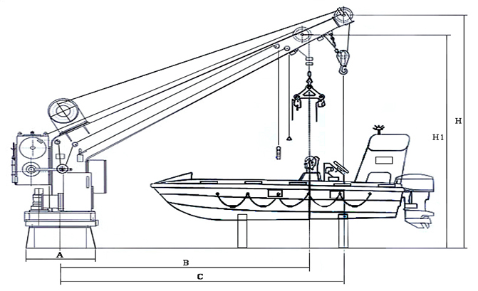 Single Arm Rescue Boat Davit with crane