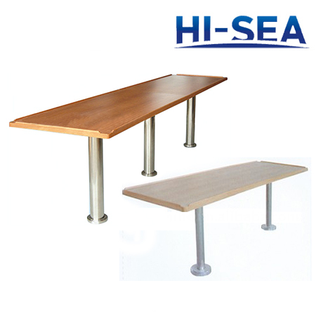 Marine Rectangular Wood Mess Table with Stainless Steel Pedestal