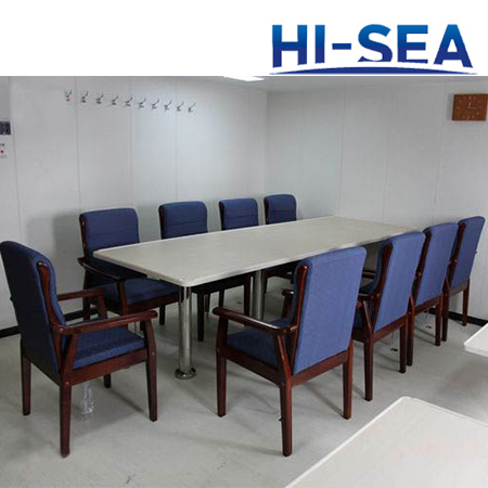 Marine Wood Conference Table with Stainless Steel Pedestal